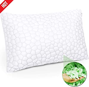 Shredded Memory Foam Pillow with Bamboo Cover, Premium Luxury Gel Memory Foam Pillows for Sleeping, Adjustable Firm or Soft Loft Standard Queen, Side Sleepers, Back Sleepers or Neck Pain …