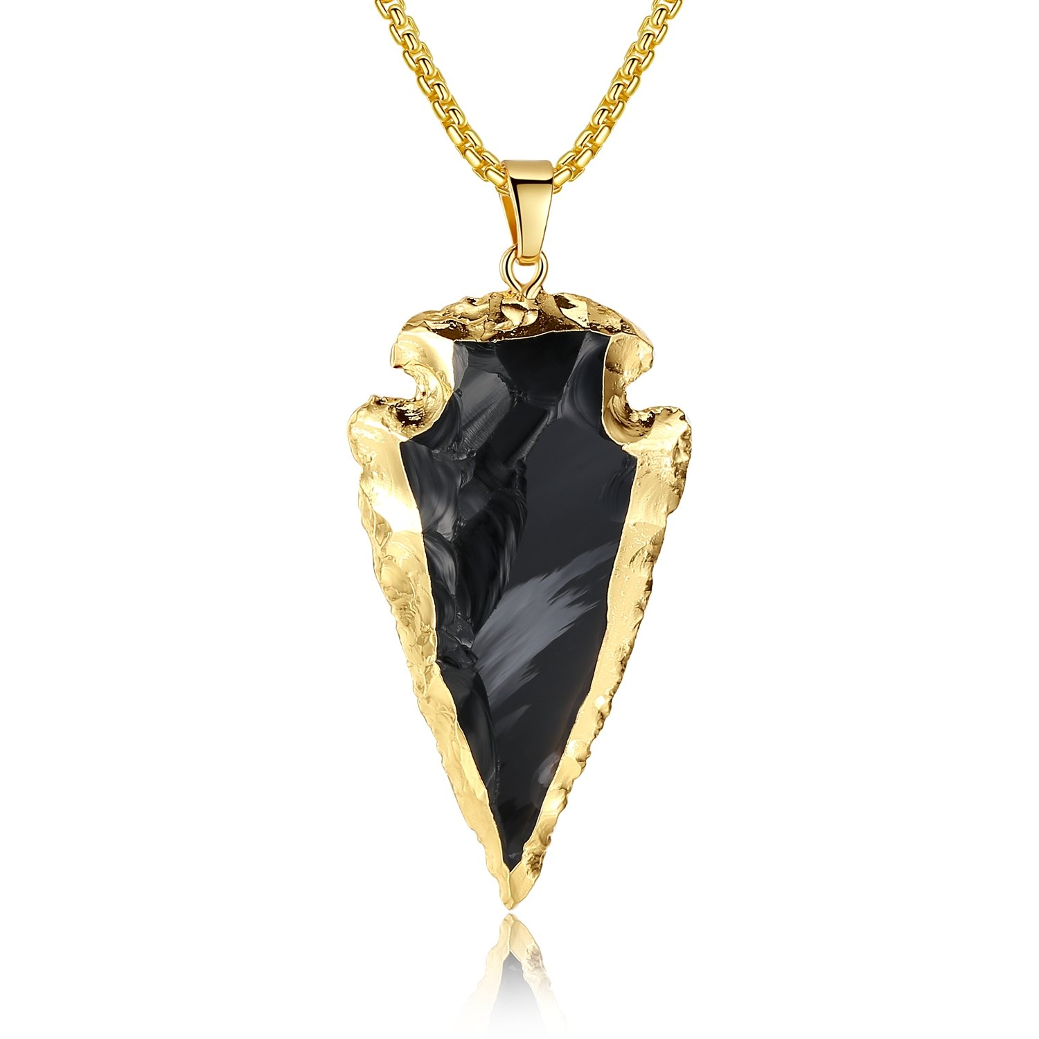 COAI Raw Obsidian Dragonglass Arrowhead Pendant Long Necklace 31.5''