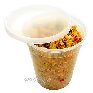 Pactiv/Newspring 32 oz. (Quart Size) Plastic Freezer Food Storage Deli Soup Container Tubs w/Lids (Pack of 12 Sets)