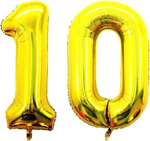 Amazon.com: Goer globo de 42 inch oro número 10, Jumbo Foil ...