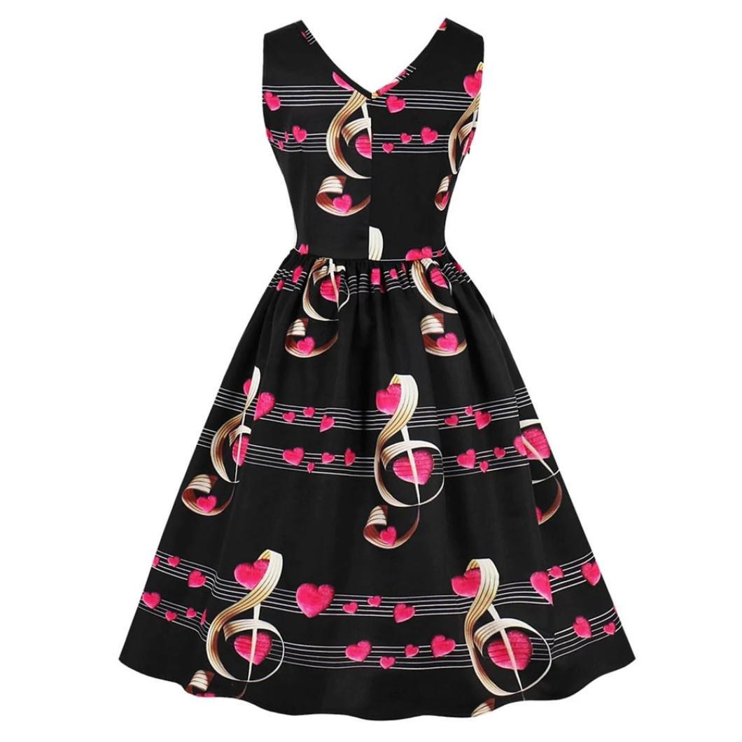 Qisc Hepburn Style Dress Ladies Retro Floral Elegant Sleeveless Vintage Tea Ball Gown Swing Dress White, L