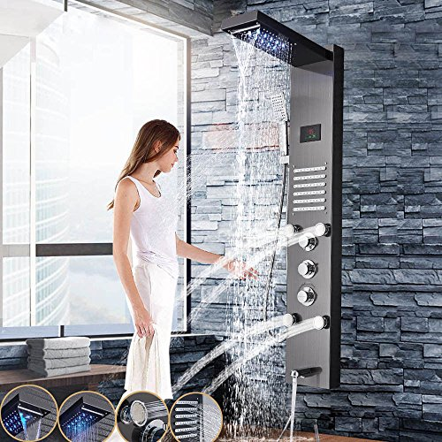 Stainless Steel Shower Panel Tower LED Rain Waterfall with Massager Body System