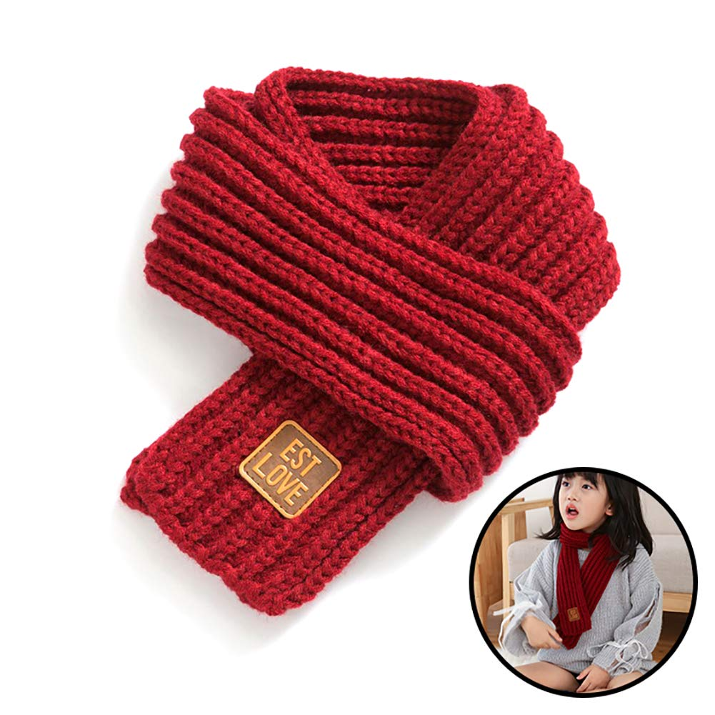 YaptheS 1pc Kids Scarves Autumn Winter Wool Knit Scarf Warm Solid Color Neckerchiefs Collar Neck Warmer for Baby Boys Girls Wine Red Gift for Winter