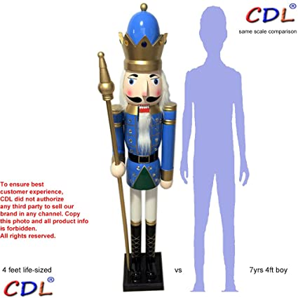 cdl 48 4ft tall life size largegiant blue christmas wooden nutcracker king - Life Size Nutcracker Outdoor Christmas Decorations