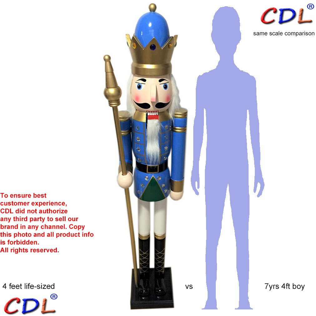 CDL 48'' 4ft tall life-size large/giant blue Christmas wooden nutcracker king ornament on stand holds golden scepter for indoor outdoor Xmas/event/ceremonies/commercial decoration(4 feet,king blue k17) by ECOM-CDL