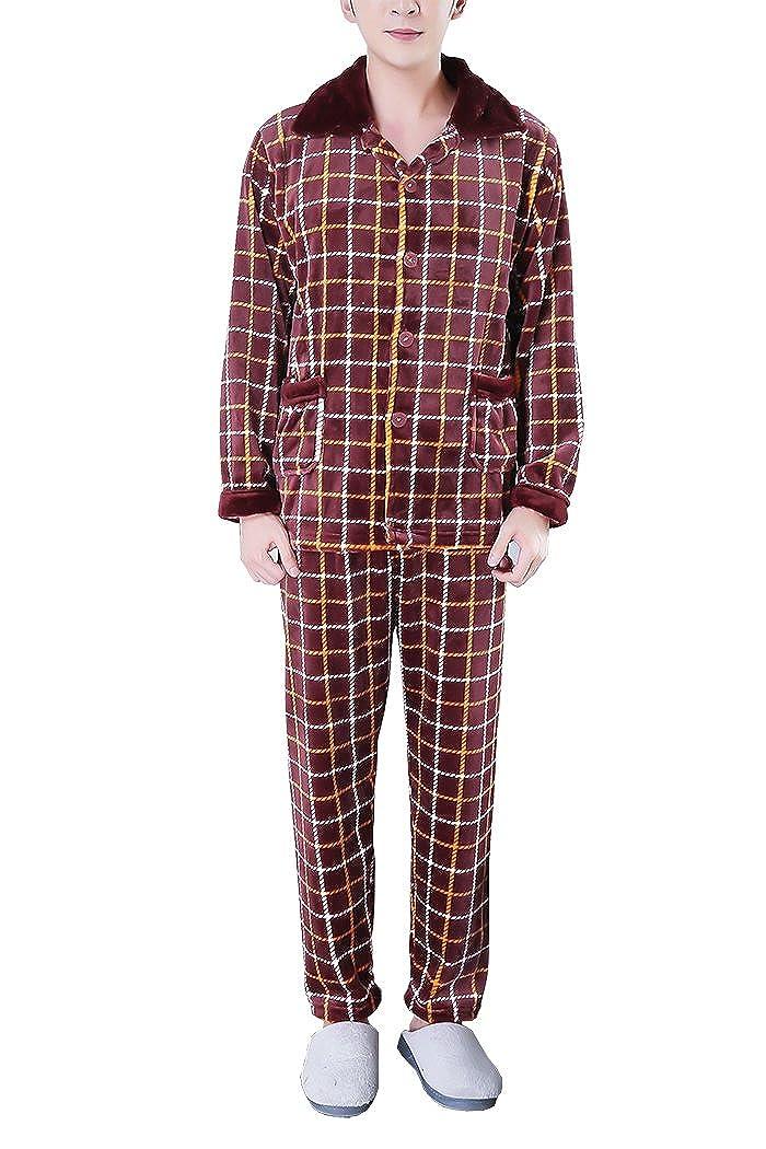WorthSJLH Mens Comfy Soft Plaid Flannel Pajama Sets