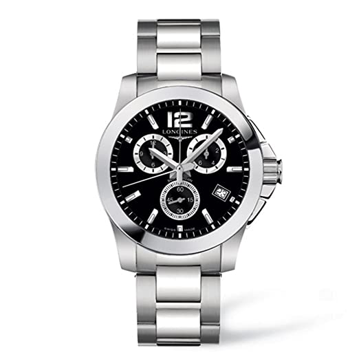 Longines Conquest Men s Quartz Watch with Black Dial Chronograph Display  and Silver Stainless Steel Bracelet L36604566  Amazon.co.uk  Watches 9163bfb5291