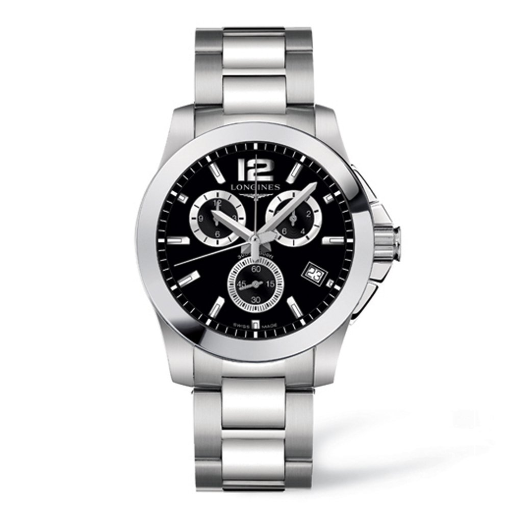 Longines Conquest Chronograph Black Dial Stainless Steel Mens Watch L36604566 by Longines