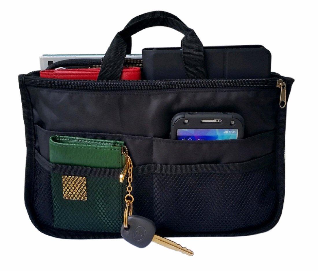 RW Collections Handbag Organizer, Liner, Sturdy Nylon Purse Insert (Extra Large, Black)