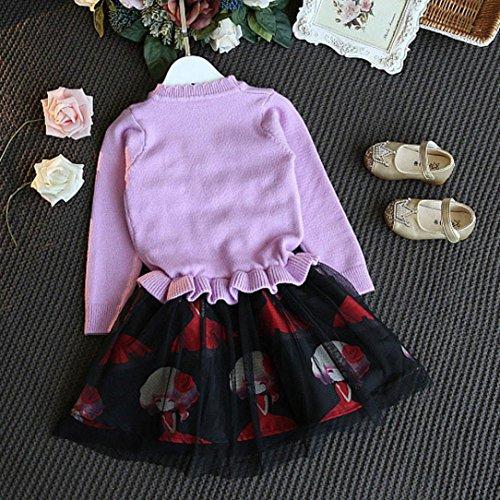 Omiky® Kinder-Baby-Mädchen strickte Strickjacke Winter-Kleidung-Häkelarbeit-Pullovers Patchwork-Kleid Lila