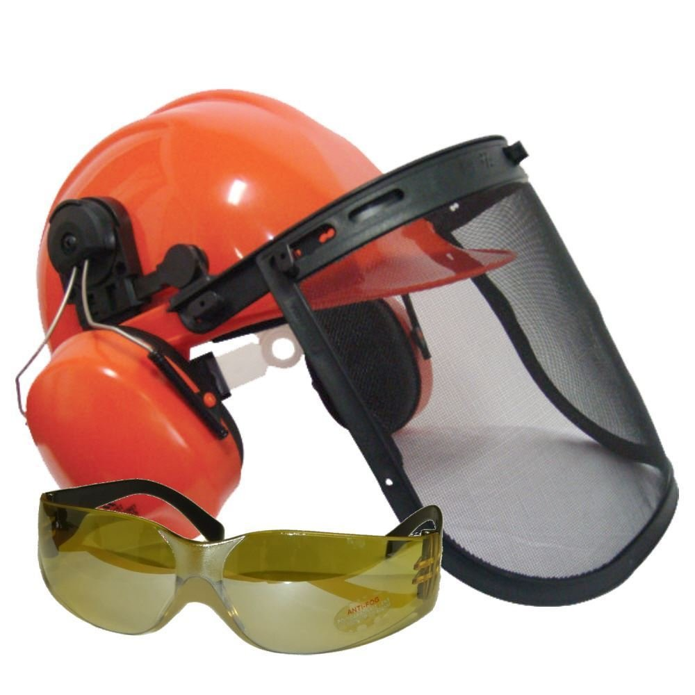 Chainsaw Safety Helmet With Ear Defenders & Mesh Visor Free Safety Glasses Rocwood