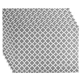 DII Lattice Cotton Placemat For Dinner Parties, Summer & Outdoor Picnics  - 13x 19'', Gray and White, Set of 6