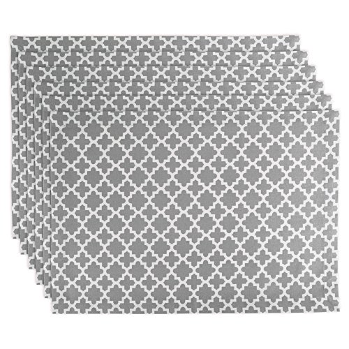 DII Lattice Cotton Placemat For Dinner Parties, Summer & Outdoor Picnics  - 13x 19, Gray and White, Set of 6