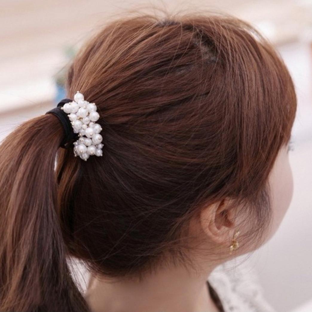 Ecurson Women Fashion Rhinestone Crystal Pearl Hair Band Rope Elastic Ponytail Holder (White)