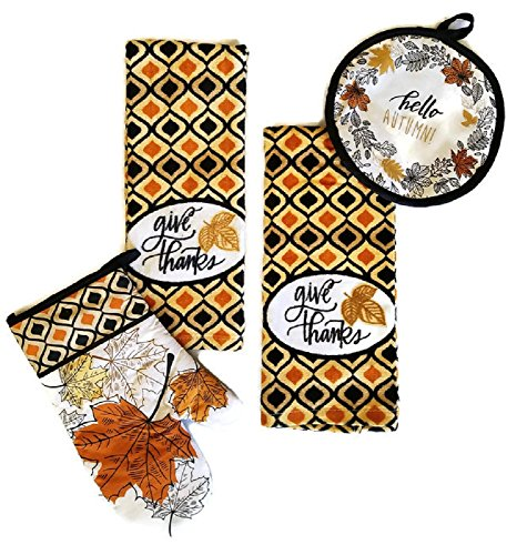 Thanksgiving-Fall-Harvest-Give-Thanks-Kitchen-Dish-Towels-Bundle-Set-of-4-Includes-2-Dish-Towels-a-Pot-Holder-and-an-Oven-Mitt