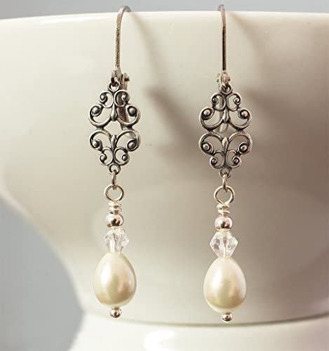 1920s Accessories | Great Gatsby Accessories Guide Art Deco Edwardian Style Earrings with Ivory Pearls  AT vintagedancer.com
