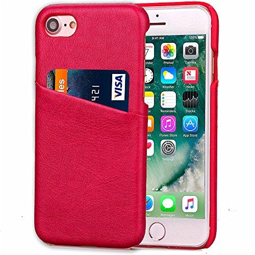 iPhone 7 Funda piel PU Case Cover Carcasa Tapa trasera piel vegana premium con cartera para Apple iPhone 7 original - Ultrafina con bolsillo tarjetero. C