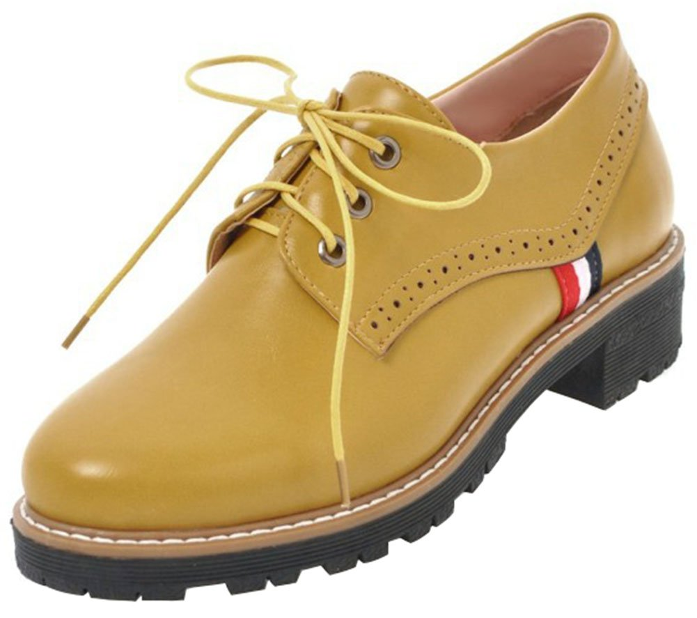 Mofri Women's Stylish Oxfords Shoes - Round Toe Low Top - Lace up Block Low Heel Brogues Shoes (Yellow, 9.5 B(M) US)