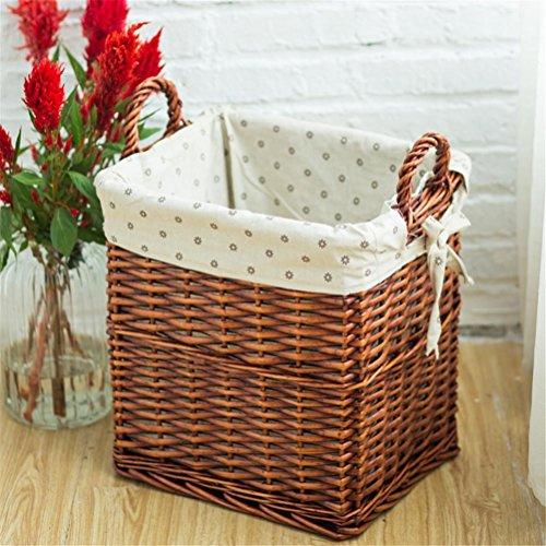 GMM® Panier de linge Rattan Panier de vêtements sale Accueil Simplicité Rectangle Willow Weave Storage Basket 39*40*32CM , A