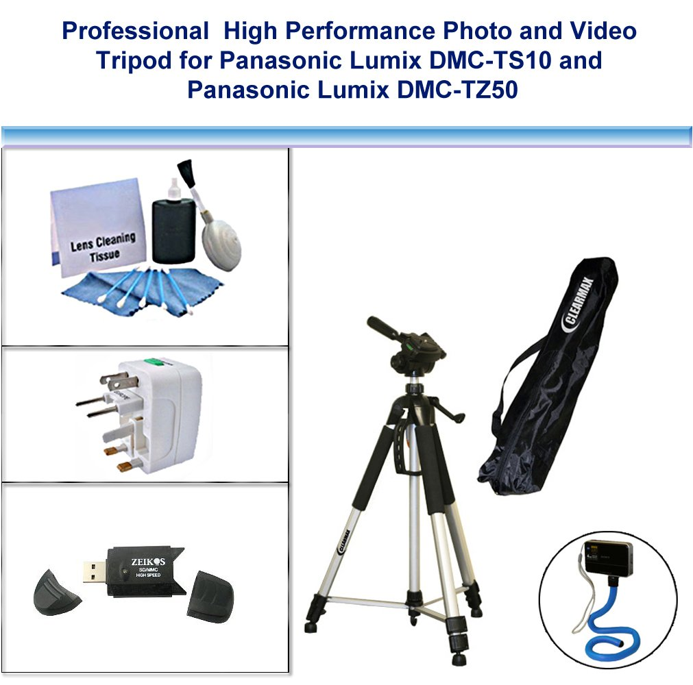 Professional High performance Photo and Video Tripod with Flexible Monopad, USB Card Reader, Universal Adapter and 5PC Lens Cleaning Kit for Panasonic Lumix DMC-TS10, Panasonic Lumix DMC-TZ50