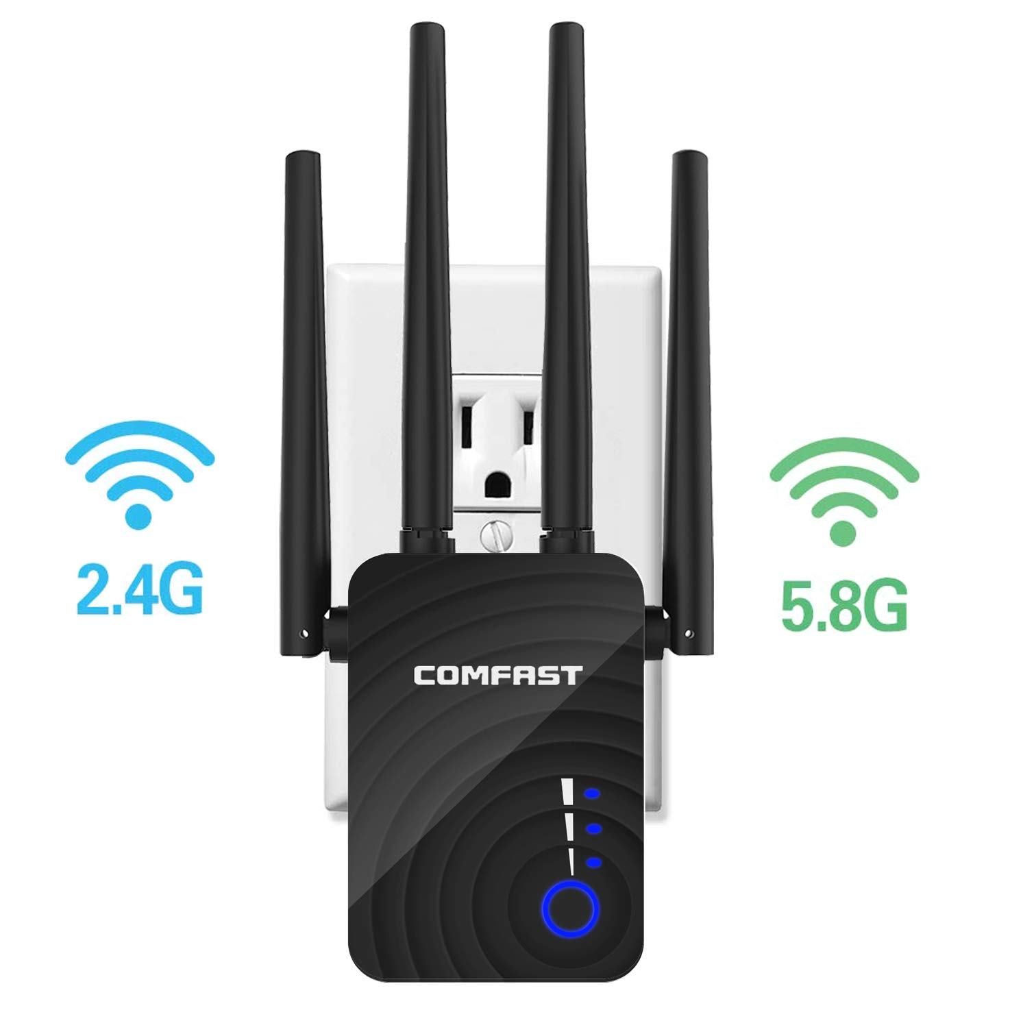 Wireless WiFi Range Extender with 5GHz & 2.4GHz Dual Band Up to 1200Mbps High Speed, WiFi Signal Booster Amplifier with with AP/Repeater/Router Mode for Home Office (Black) by UTOPB