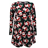 Stylish Ladies New Womens Ladies Christmas swing dress Long Sleeve Santa Snowflake Colourful Special Novelty Gift Plus Size 8-26