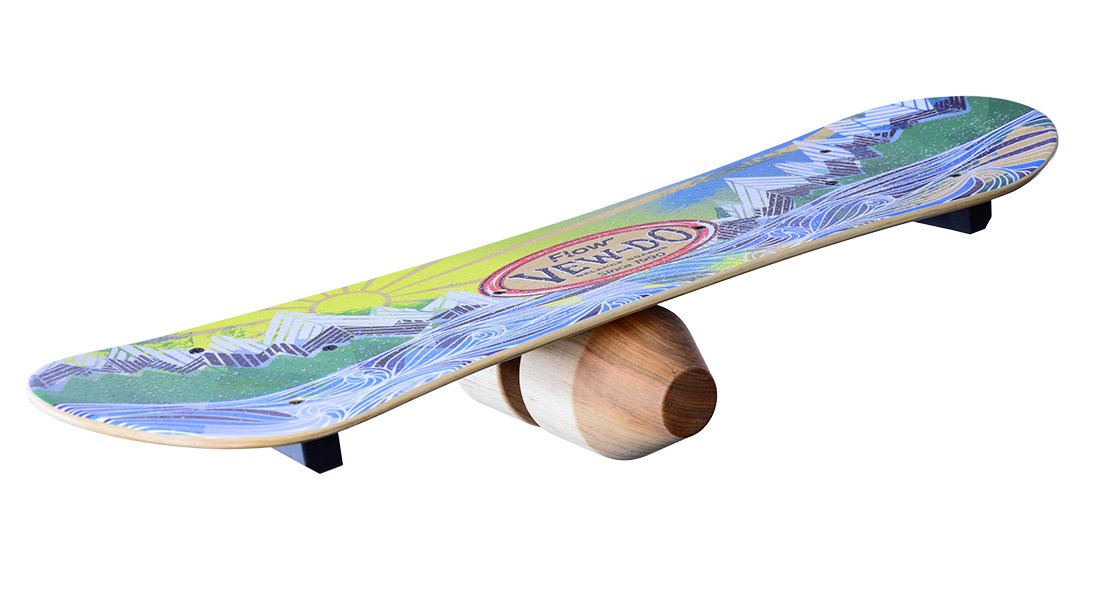 Vew-Do FLOW Balance Board with Patented Track and Rock Design - Provides Exceptional Toe / Heel and Rotational Balance for Snowboarding, Wakeboarding, Skateboarding Practice - Intermediate to Advanced