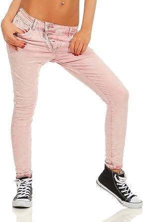 Fashion4Young 11105 Damen Jeans Hose Boyfriend Baggy Haremsjeans Slim fit Röhre Damenjeans Pants