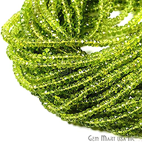 GemmartUSA Peridot Micro Faceted Rondelle Beads AAA Quality 1 Strand 14 Inch 3-4mm Jewelry Making Supplies (RLPT-70002)
