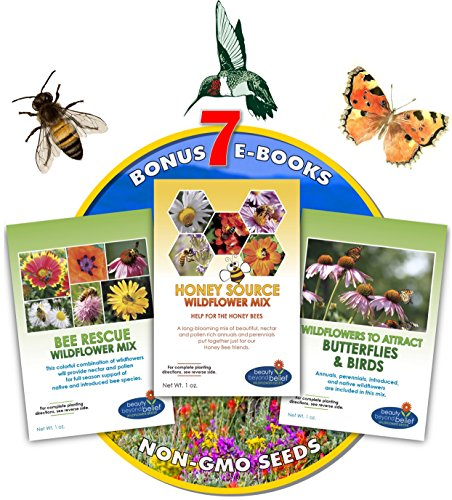 Butterfly Wildflower Seed Mix (Wildflower Seeds Bulk + 8 BONUS Gardening eBooks + Open-Pollinated Wildflower Seeds, 1oz Packets, Non-GMO, No Fillers, Annual, Perennial Wildflower Seeds Year Round Planting, Bees Pollinators)