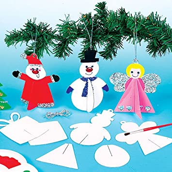 baker ross 3d christmas hanging decorations for children to make and hang pack of - Ross Christmas Decorations
