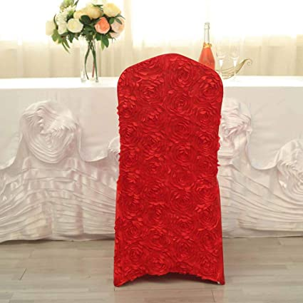Tableclothsfactory 20 PCS Red Stretchy Spandex Fitted Banquet Chair Cover Dinning Event Slipcover for Wedding Party Banquet Catering