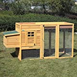 LAZYMOON 78'' Wooden Chicken Coop Poultry Cage Rabbit Hutch House Backyard Outdoor Run w/Nest Box