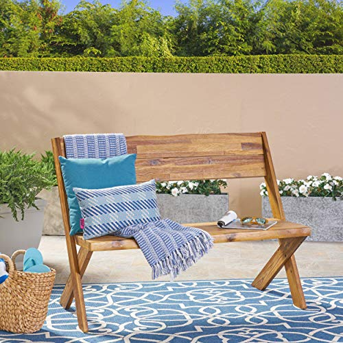 Great Deal Furniture 304410 Irene Outdoor Acacia Wood Bench, Teak, Sandblast Finish