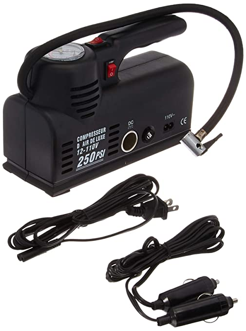 "Portable Air Compressor Pump 110V AC 12V DC - Extra long 21"" Filling Hose -"
