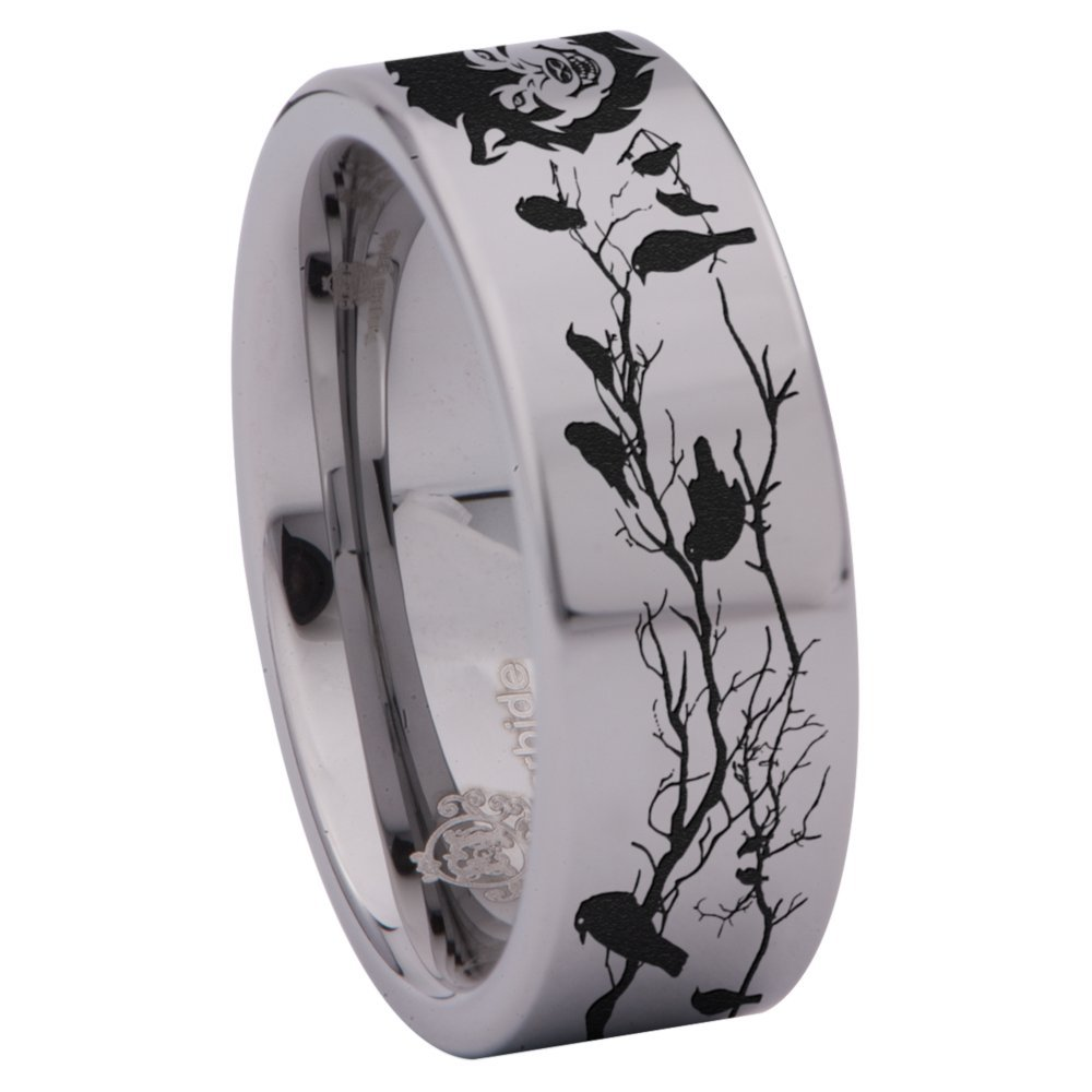 Friends of Irony Tungsten Carbide Wolf and Raven Ring 8mm Wedding Band and Anniversary Ring Jewelry for Men and Women
