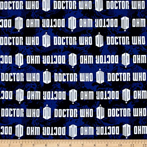 BBC Doctor Who Comics Doctor Who Logo Stripe Blue Fabric By The Yard