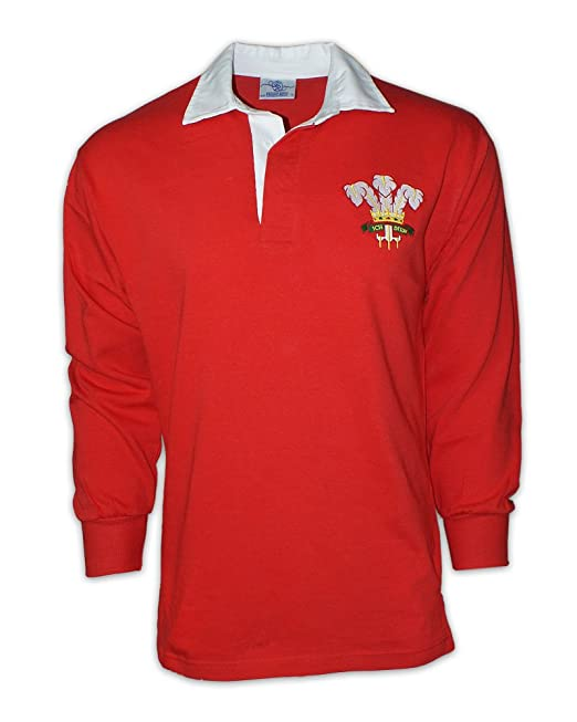 Los Hombres de Manga Larga de Vintage Bordado Escudo de Gales Camiseta de Rugby de Gales