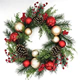 Red and Gold Christmas Wreath for Front Door Quality Plastic Mercury Glass Ornaments Pine Cones Faux Berries Premium Pine Branches Cedar Greens Unlit Indoor Outdoor Holiday Decoration 22 Inch