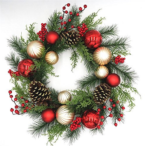 - Red and Gold Christmas Wreath for Front Door Quality Plastic Mercury Glass Ornaments Pine Cones Faux Berries Premium Pine Branches Cedar Greens Unlit Indoor Outdoor Holiday Decoration 22 Inch