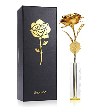 Amazon Com Valentine S Day Gift 24k Gold Foil Rose Flower With