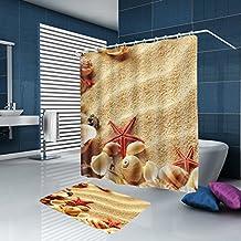 "ALFALFA Home Bathroom Decorative Polyester Fabric Scenery Theme Shower Curtain With Hooks, Waterproof, Mildew Resistant 72""W x 72""H (180CM x 180CM) - Sea Shells"