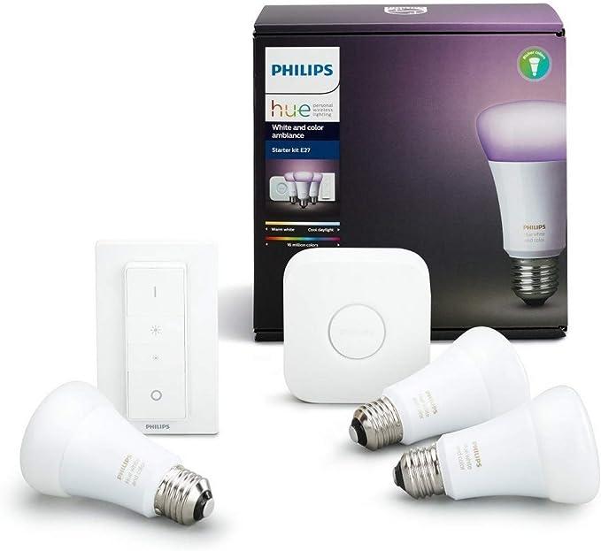 Philips Hue Kit 3 Bombillas Inteligentes LED E27 con Puente y ...