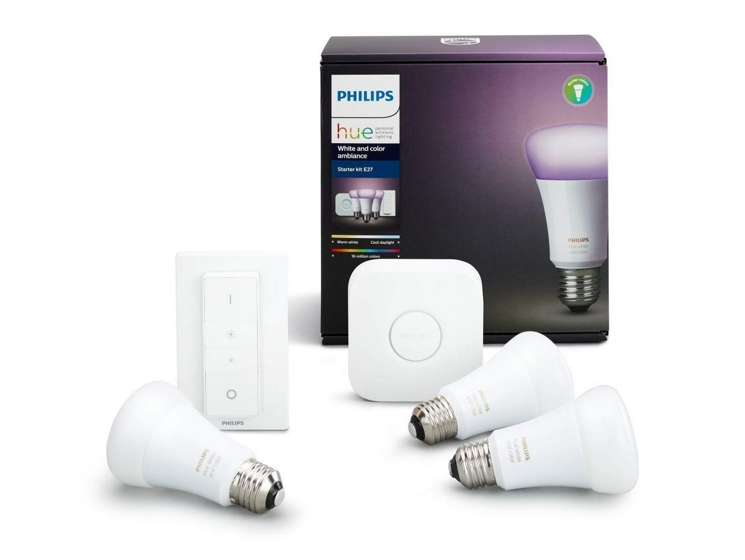 Philips Hue White and Color Ambiance - Kit de 3 bombillas LED E27 con puente y mando, 9.5 W, iluminación inteligente, cambian de color, compatible con ...