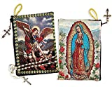 Archangel Michael Reversible Our Lady of Guadalupe Icon Rosary Tapestry Pouch 5 3/8 Inch