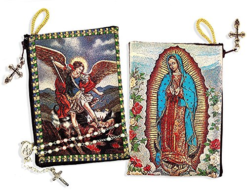 Archangel Michael Reversible Our Lady of Guadalupe Icon Rosary Tapestry Pouch 5 3/8 Inch by Alex-Intl