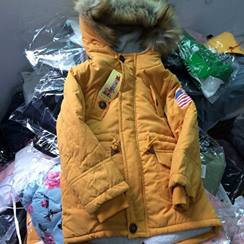 Cotton Coat Hooded Winter Outwear USA Gaorui Flag Girls' Thick Orange Jacket qt7w0