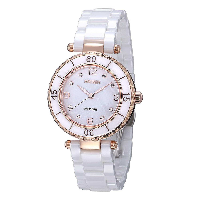 Damen Fashion Rose Gold Diamant Elegante Uhren mit Keramik Armband - Zifferblatt Luxus akzentuierten Kleid