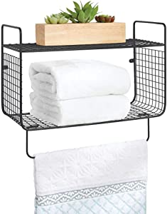 mDesign Metal Wire Farmhouse Wall Decor Storage Organizer 2 Tier Shelf with Towel Bar for Bathroom, Laundry Room, Kitchen, Garage - Wall Mount - Black