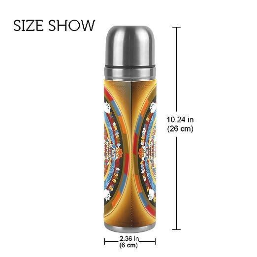 DragonSwordlinsu COOSUN Mandala - Botella de Agua Térmica de Acero Inoxidable con Aislamiento al Vacío, a Prueba de Fugas, Doble Botella de Vacío, ...